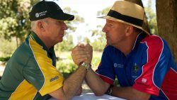 Ian Botham and Allan Border signed bat Ashes competition