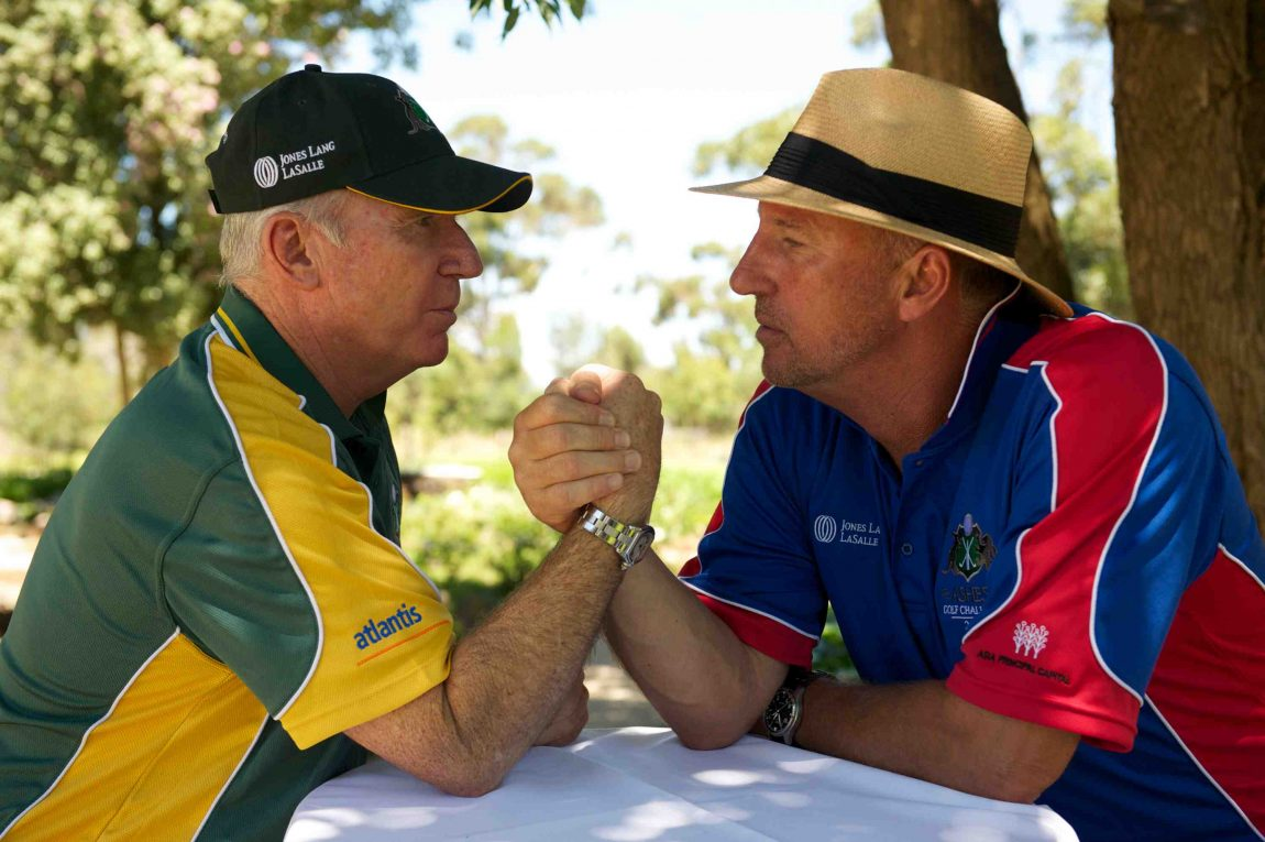 Sir Ian Botham and Allan Border signed bat Ashes competition