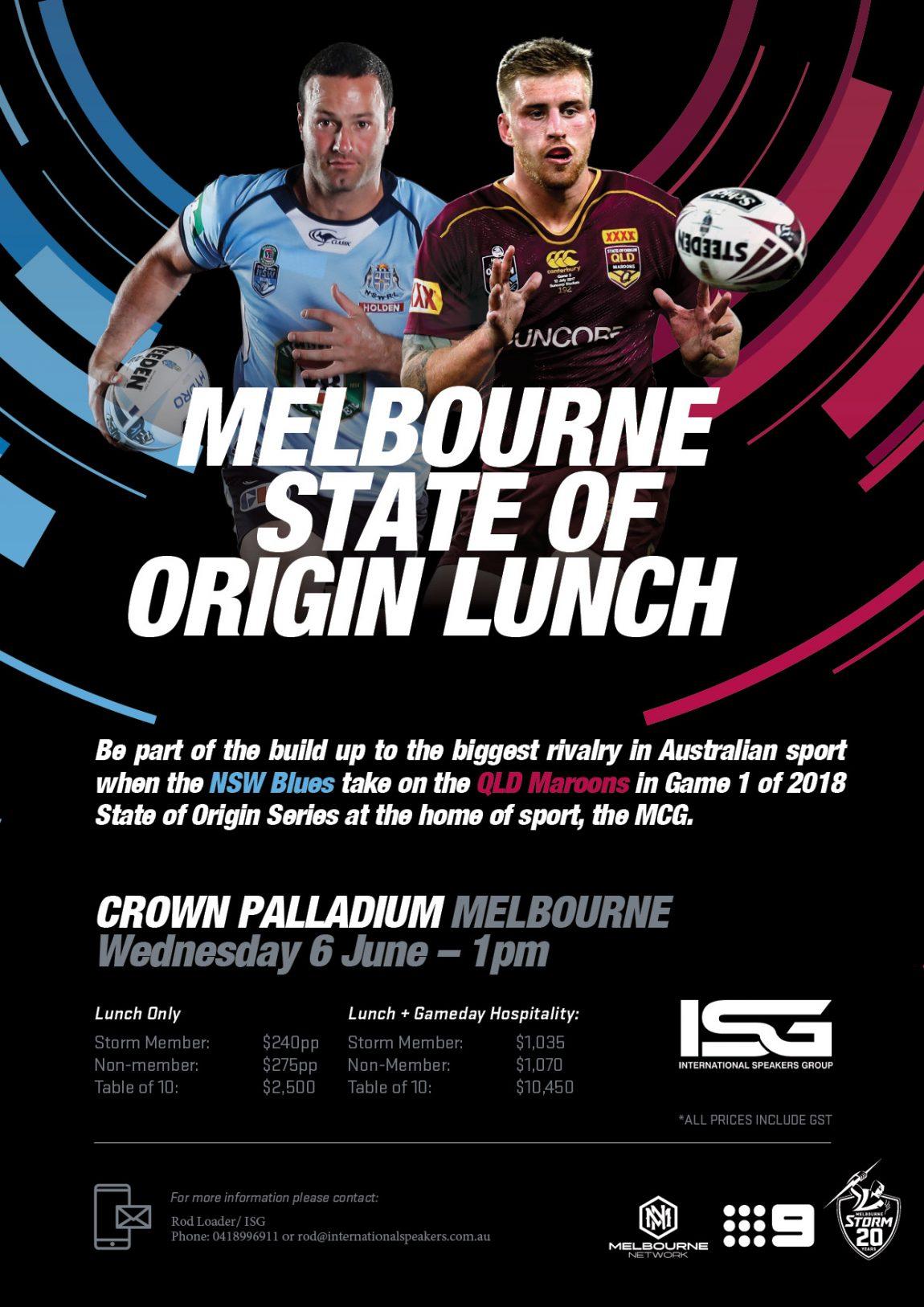Melbourne State Of Origin Lunch